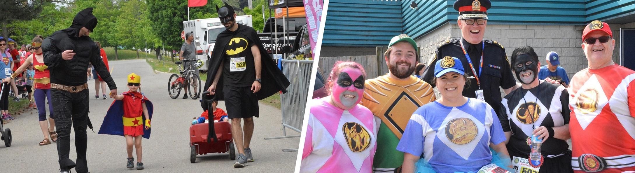 Fun times in costume at the Rotary Classic Superhero Run.