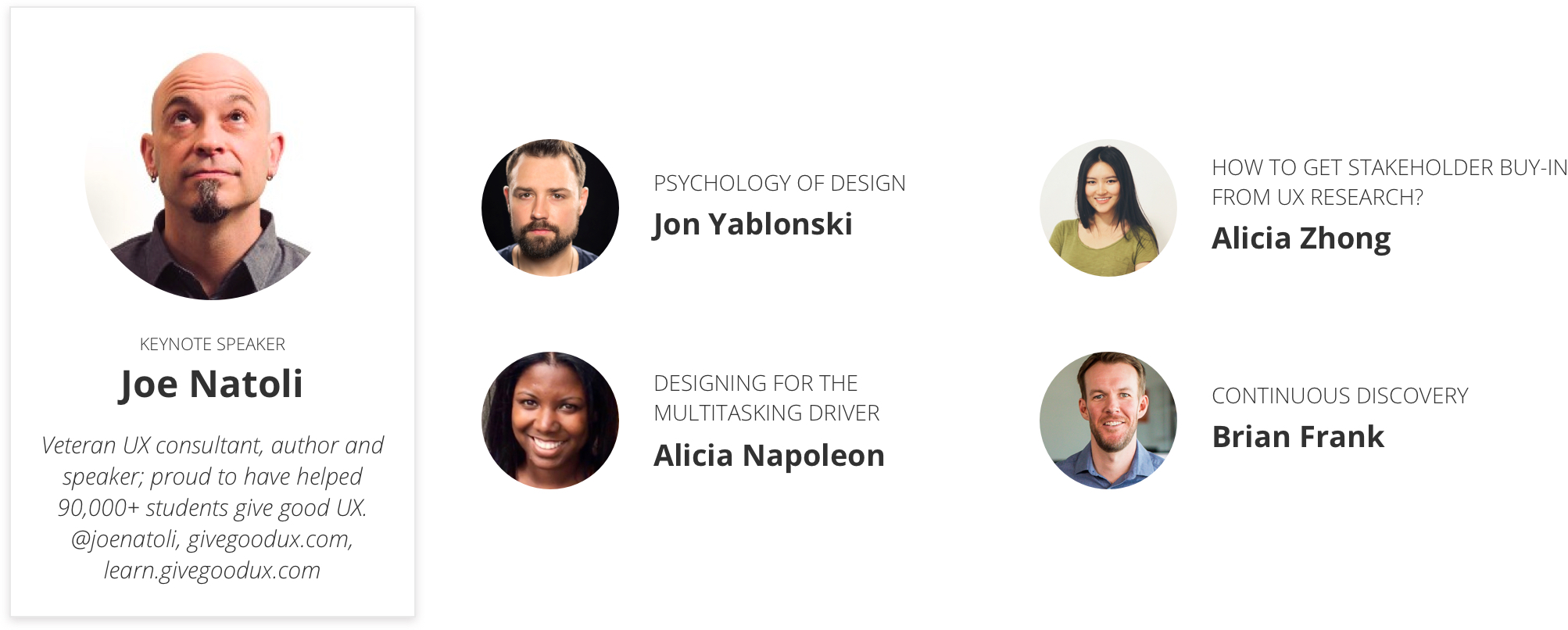 LTUX speaker list: Keyote by Joe Natoli, Psychology of design by Jon Yablonski, How to get stakeholder buy-in from UX research? by Alicia Zhong, Designing for the multitasking driver by Alicia Napoleon and Continuous Discover by Brian Frank