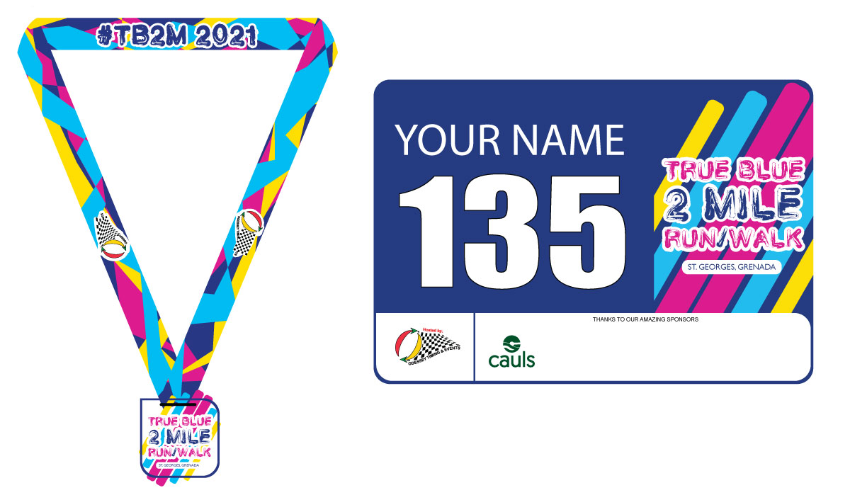 True Blue 2 Mile medal & bib number