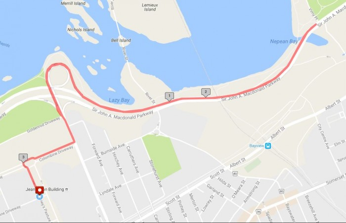 Map displaying the path for the 5 km race.